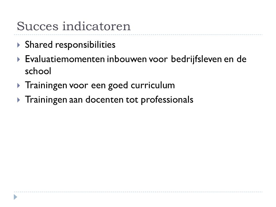 Succes indicatoren Shared responsibilities