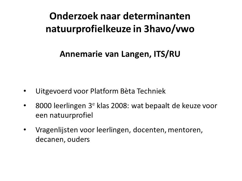 Onderzoek naar determinanten natuurprofielkeuze in 3havo/vwo