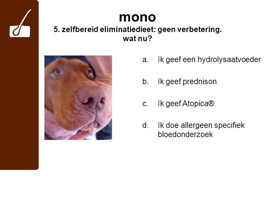 mono 5. zelfbereid eliminatiedieet: geen verbetering. wat nu