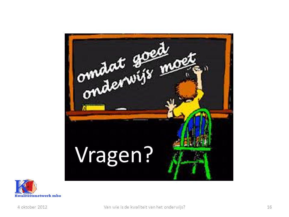 Van wie is de kwaliteit van het onderwijs