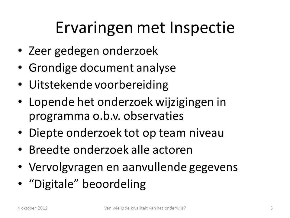 Ervaringen met Inspectie