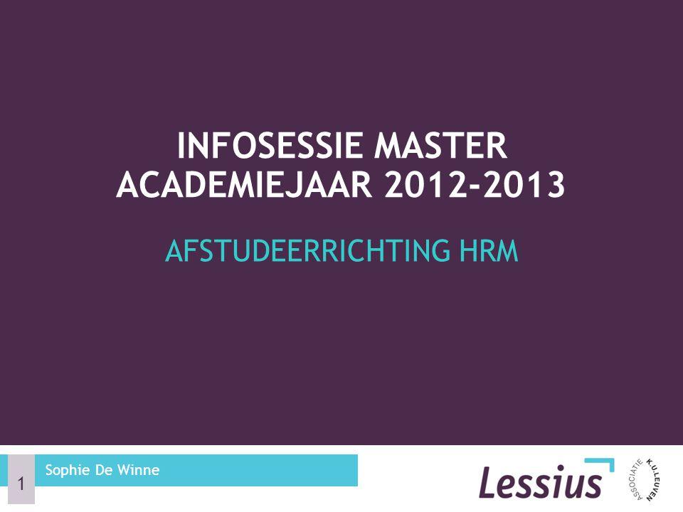 Infosessie master academiejaar 2012-2013