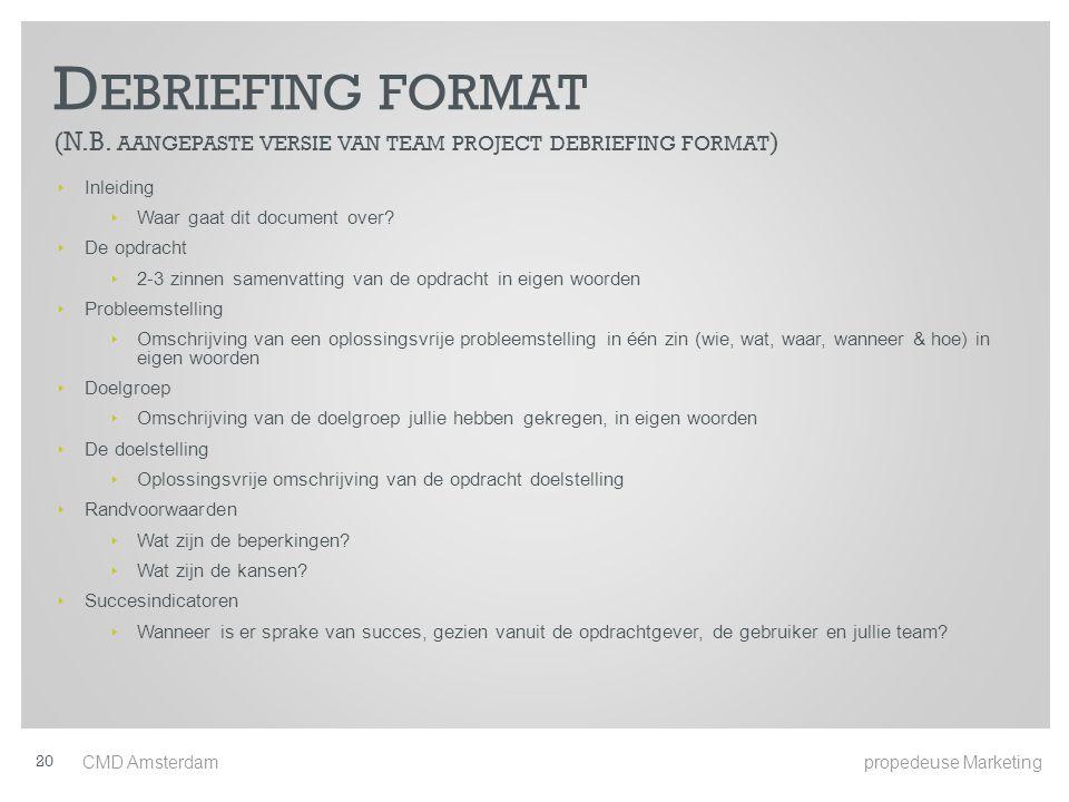 Debriefing format (N.B. aangepaste versie van team project debriefing format)