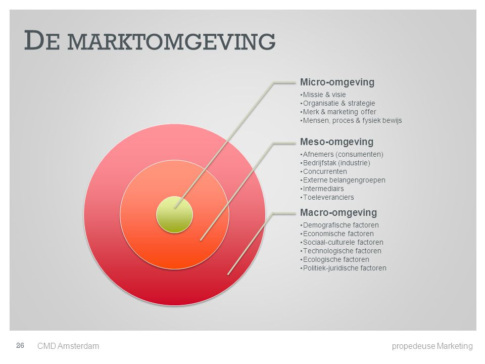 De marktomgeving Micro-omgeving Meso-omgeving Macro-omgeving