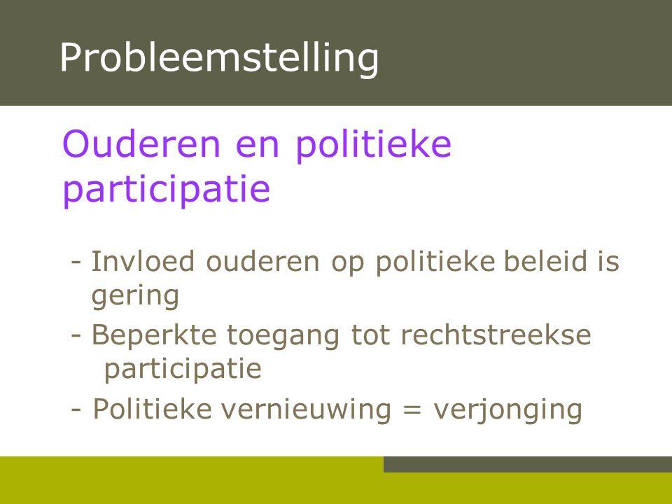 Probleemstelling Ouderen en politieke participatie