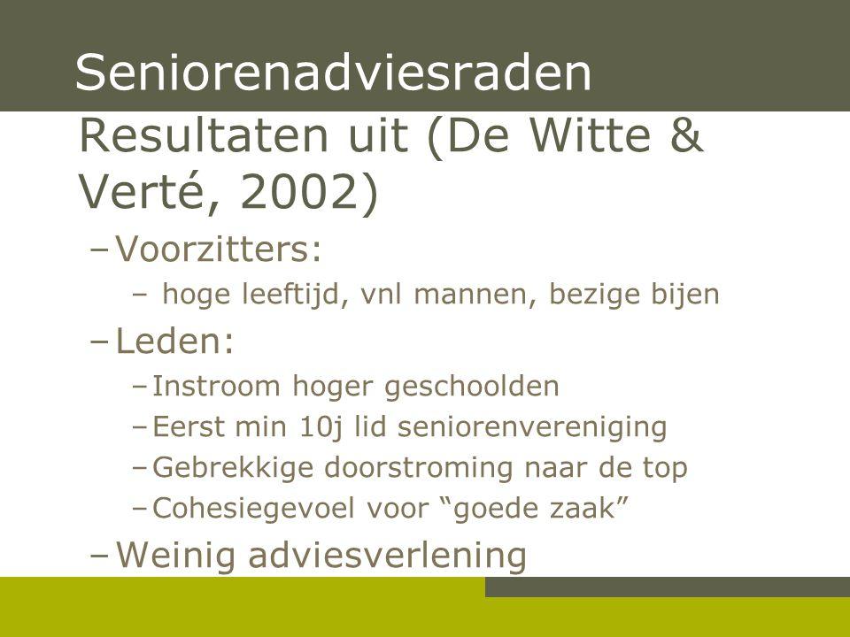 Seniorenadviesraden Resultaten uit (De Witte & Verté, 2002)