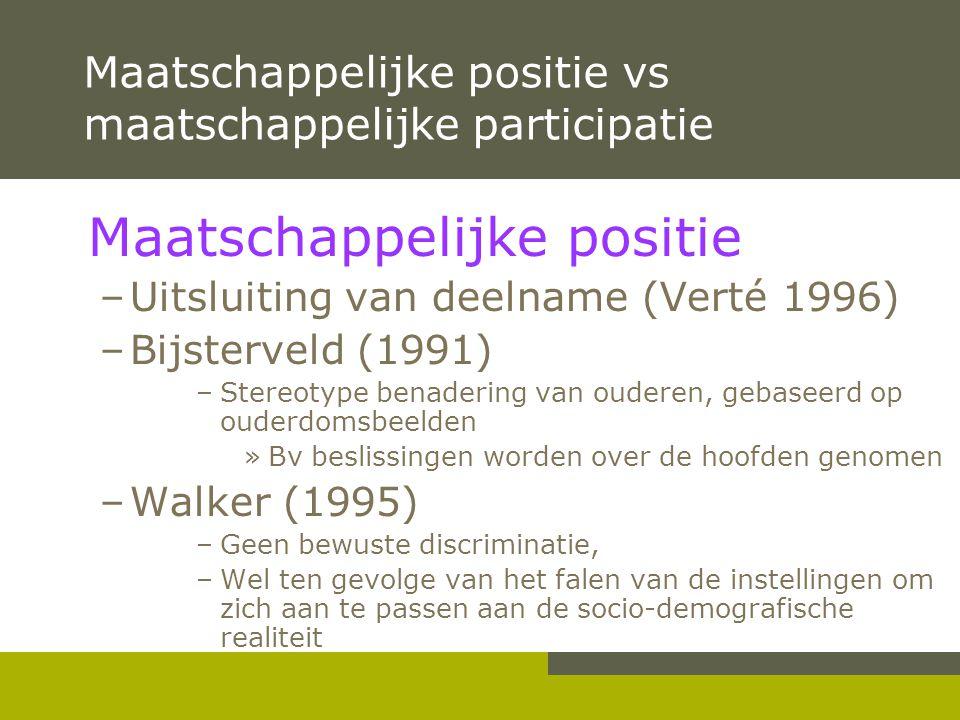 Maatschappelijke positie vs maatschappelijke participatie