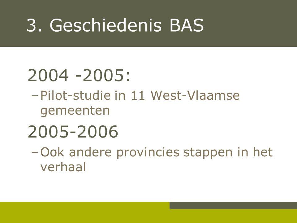 3. Geschiedenis BAS 2004 -2005: Pilot-studie in 11 West-Vlaamse gemeenten.