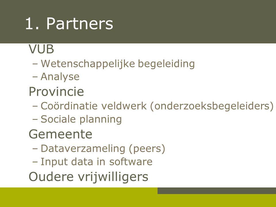 1. Partners VUB Provincie Gemeente Oudere vrijwilligers