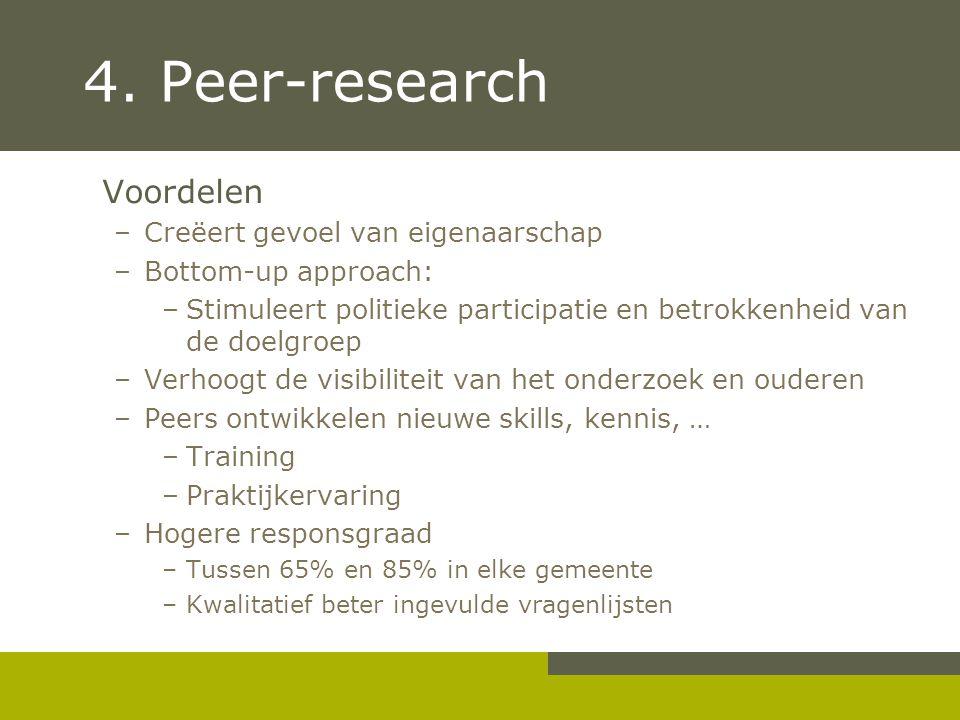 4. Peer-research Voordelen Creëert gevoel van eigenaarschap