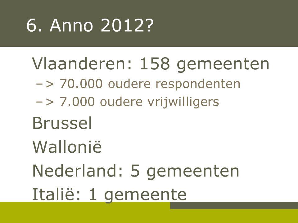 6. Anno 2012 Vlaanderen: 158 gemeenten Brussel Wallonië