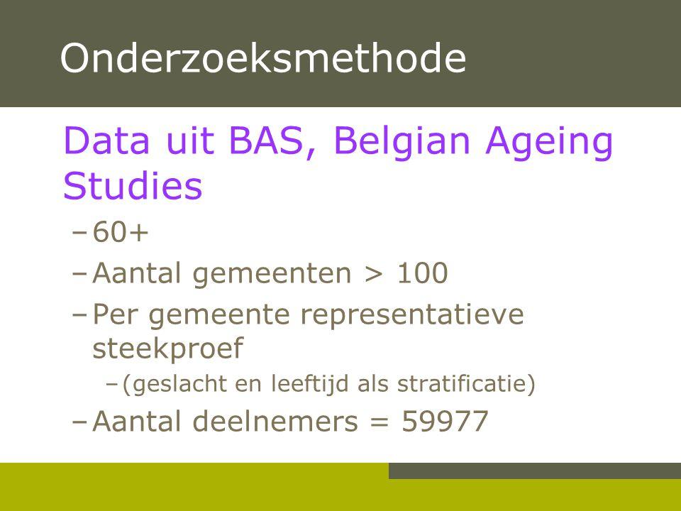 Onderzoeksmethode Data uit BAS, Belgian Ageing Studies 60+