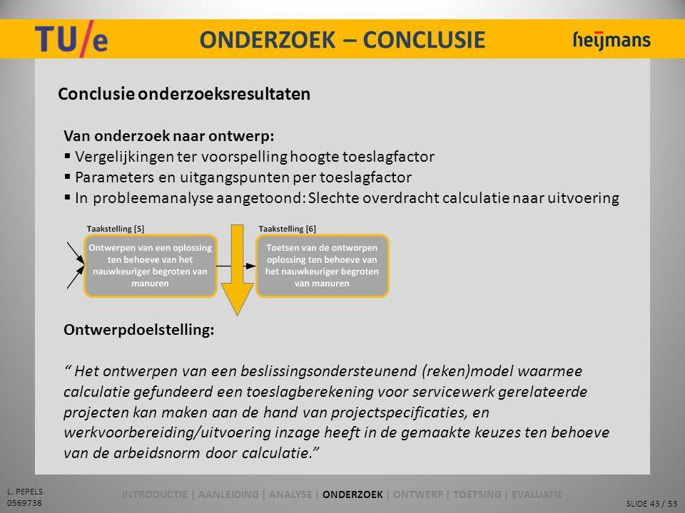 ONDERZOEK – CONCLUSIE Conclusie onderzoeksresultaten