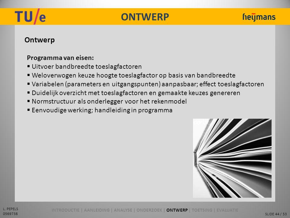 ONTWERP Ontwerp Programma van eisen: