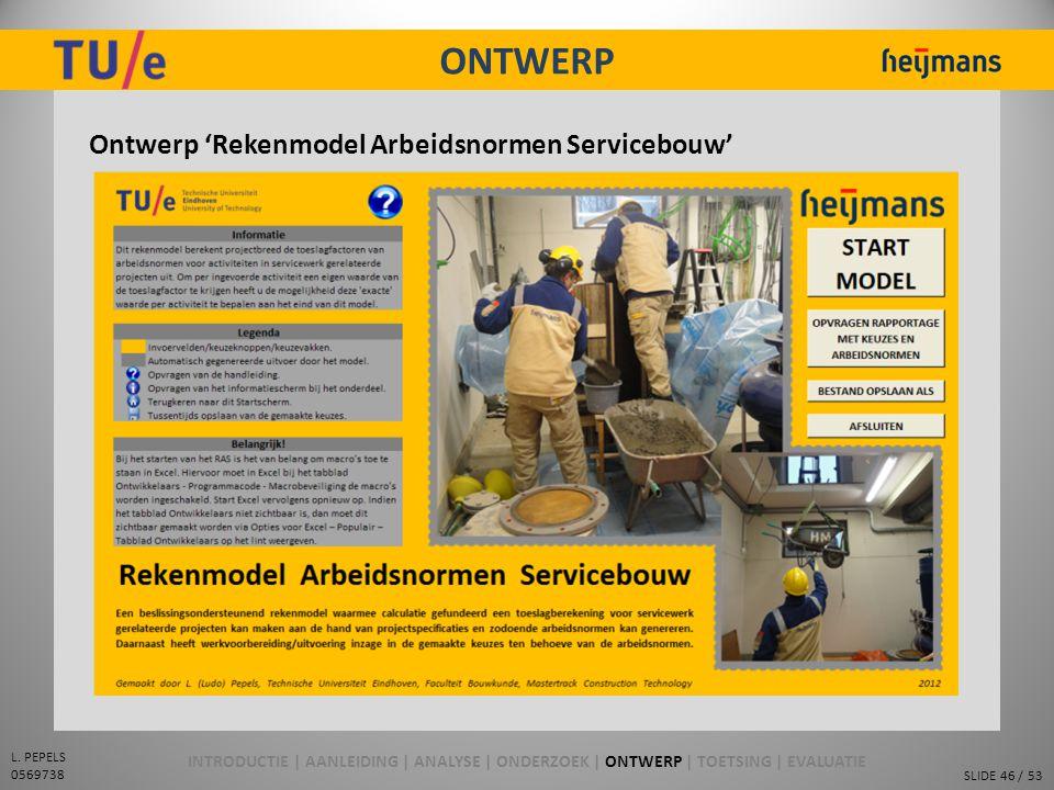 ONTWERP Ontwerp 'Rekenmodel Arbeidsnormen Servicebouw'