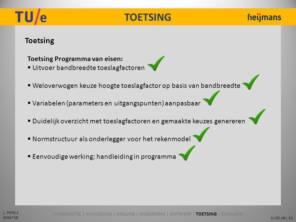 TOETSING Toetsing Toetsing Programma van eisen: