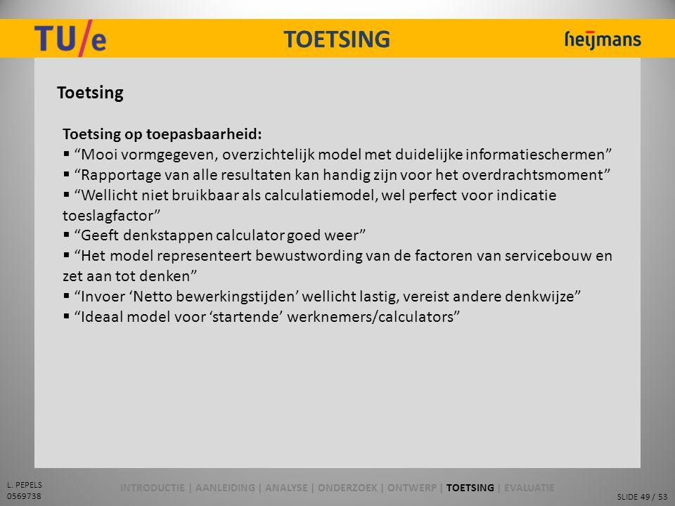 TOETSING Toetsing Toetsing op toepasbaarheid: