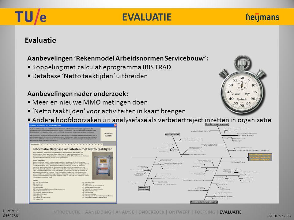 EVALUATIE Evaluatie. Aanbevelingen 'Rekenmodel Arbeidsnormen Servicebouw': Koppeling met calculatieprogramma IBIS TRAD.