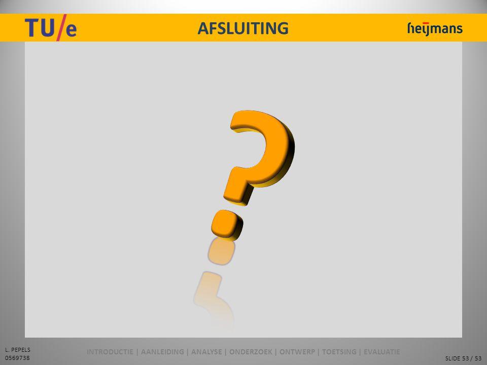 AFSLUITING INTRODUCTIE | AANLEIDING | ANALYSE | ONDERZOEK | ONTWERP | TOETSING | EVALUATIE