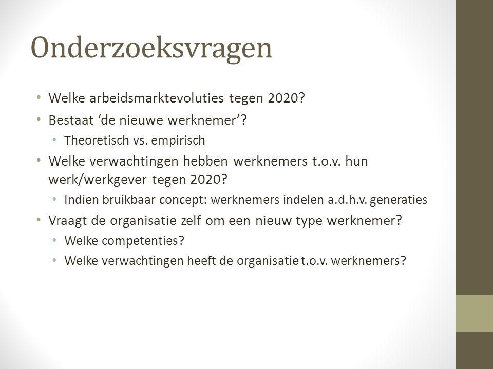 Onderzoeksvragen Welke arbeidsmarktevoluties tegen 2020
