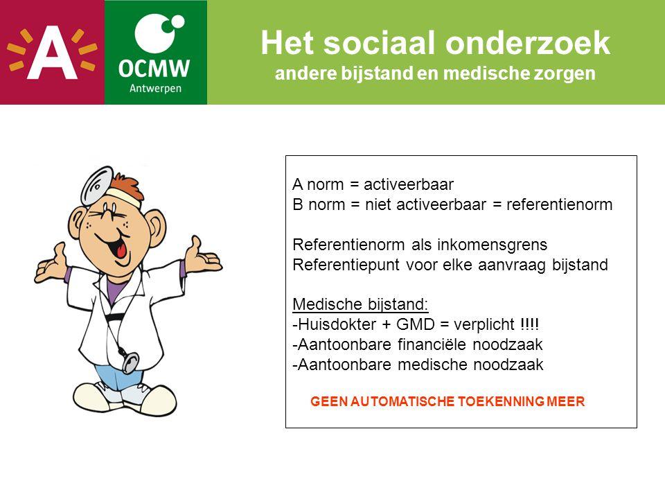 Het sociaal onderzoek andere bijstand en medische zorgen