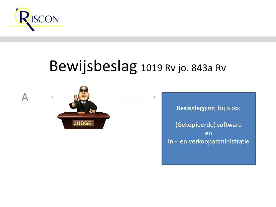 Bewijsbeslag 1019 Rv jo. 843a Rv A Beslaglegging bij B op: