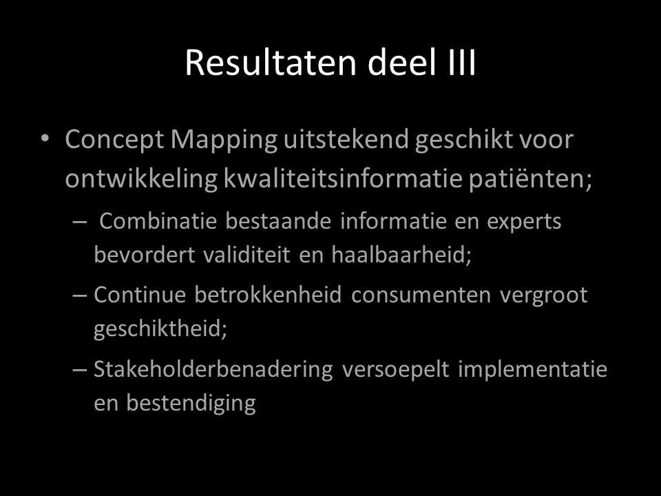 Resultaten deel III Concept Mapping uitstekend geschikt voor ontwikkeling kwaliteitsinformatie patiënten;