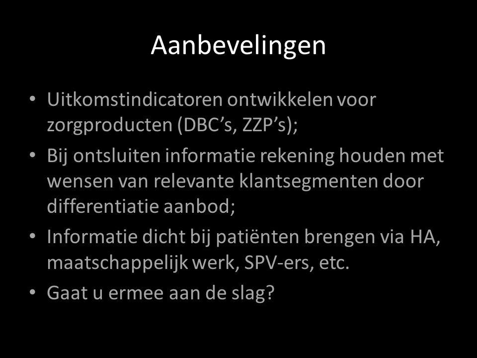 Aanbevelingen Uitkomstindicatoren ontwikkelen voor zorgproducten (DBC's, ZZP's);