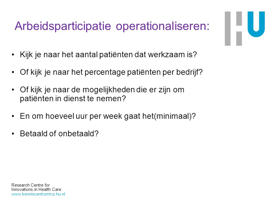Arbeidsparticipatie operationaliseren: