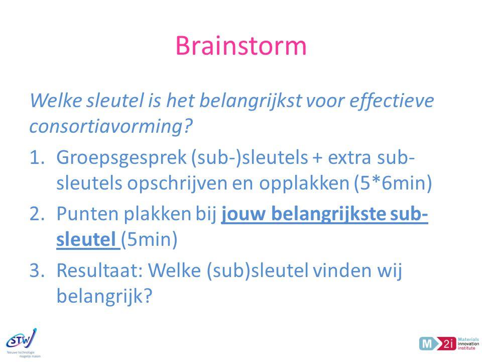 Brainstorm Welke sleutel is het belangrijkst voor effectieve consortiavorming