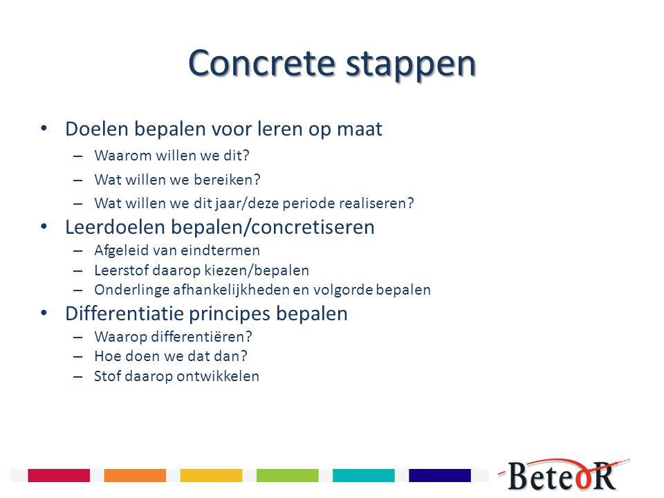 Concrete stappen Doelen bepalen voor leren op maat