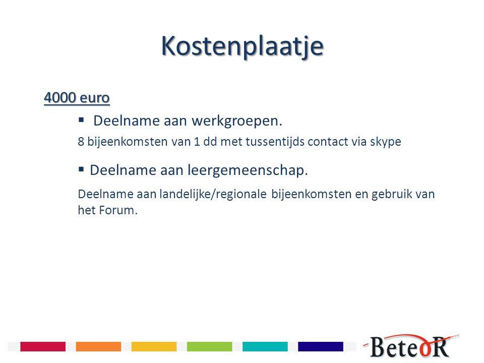 Kostenplaatje 4000 euro Deelname aan werkgroepen.