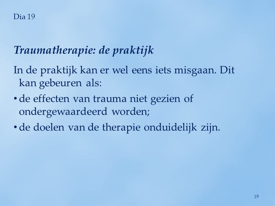 Traumatherapie: de praktijk