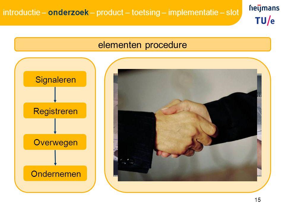 elementen procedure Signaleren Registreren Overwegen Ondernemen