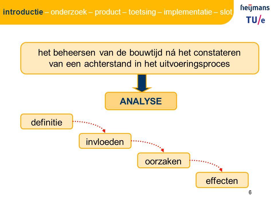 introductie – onderzoek – product – toetsing – implementatie – slot