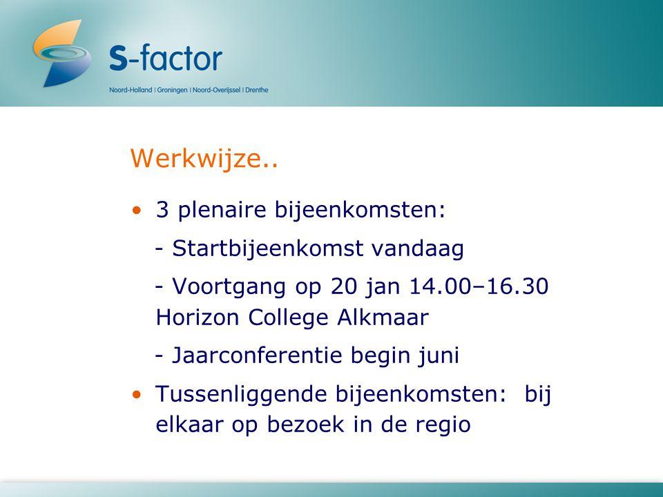Werkwijze.. 3 plenaire bijeenkomsten: - Startbijeenkomst vandaag