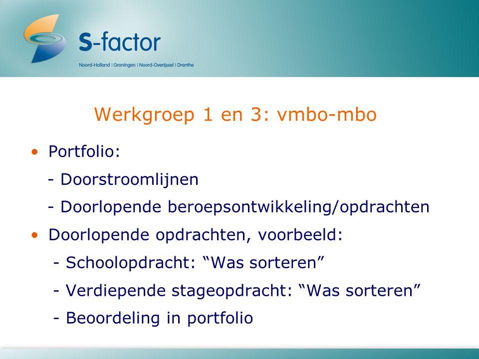Werkgroep 1 en 3: vmbo-mbo