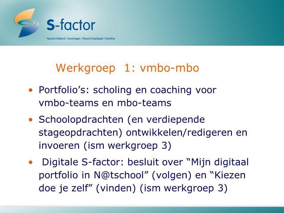 Werkgroep 1: vmbo-mbo Portfolio's: scholing en coaching voor vmbo-teams en mbo-teams.