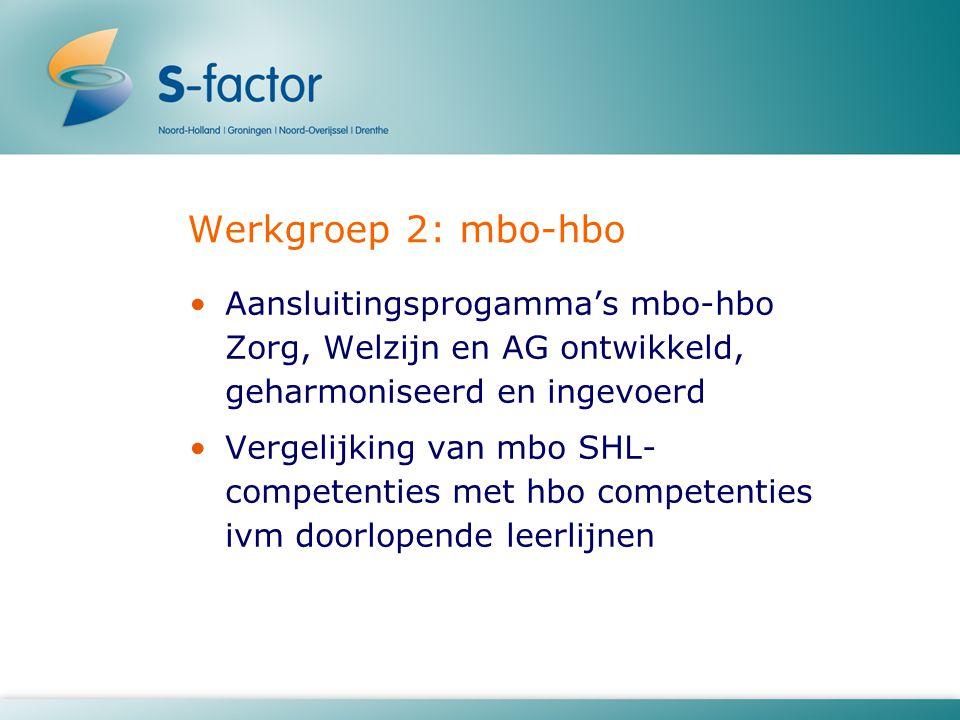 Werkgroep 2: mbo-hbo Aansluitingsprogamma's mbo-hbo Zorg, Welzijn en AG ontwikkeld, geharmoniseerd en ingevoerd.