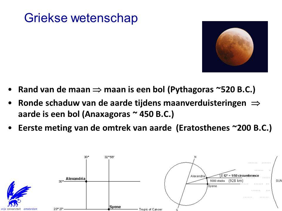 Griekse wetenschap Rand van de maan  maan is een bol (Pythagoras ~520 B.C.)