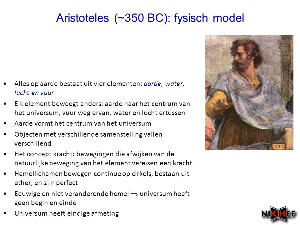 Aristoteles (~350 BC): fysisch model