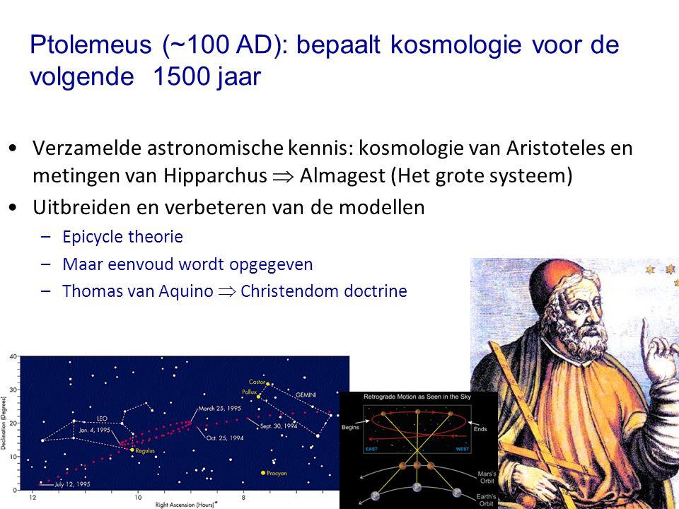 Ptolemeus (~100 AD): bepaalt kosmologie voor de volgende 1500 jaar