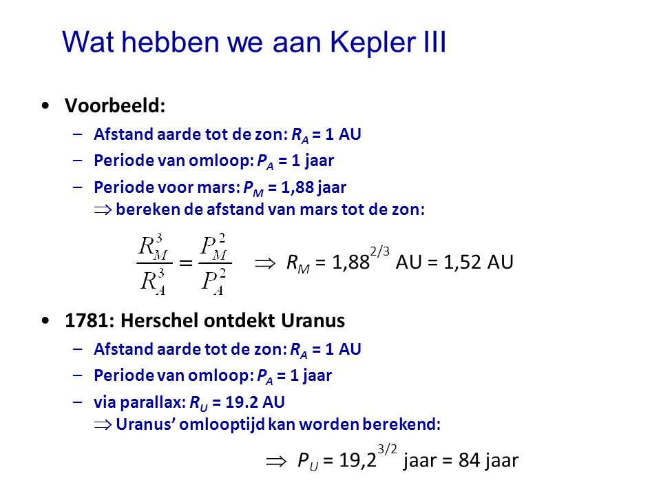 Wat hebben we aan Kepler III