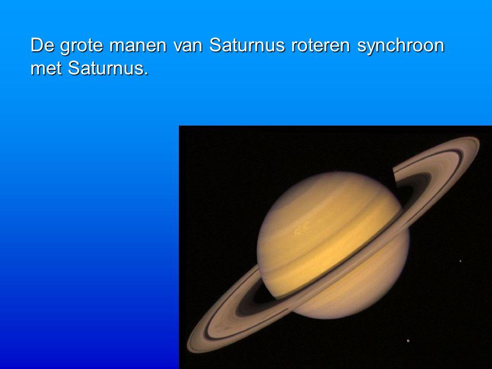 De grote manen van Saturnus roteren synchroon met Saturnus.