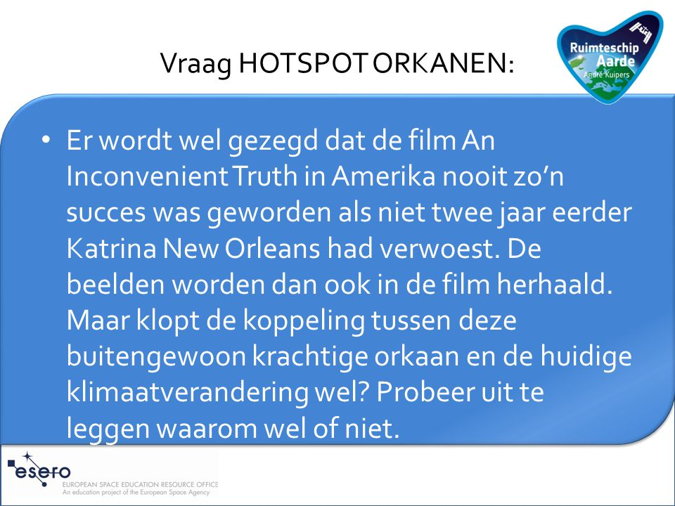 Vraag HOTSPOT ORKANEN: