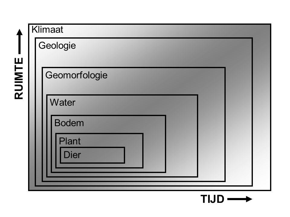 Klimaat Geologie Geomorfologie RUIMTE Water Bodem Plant Dier TIJD