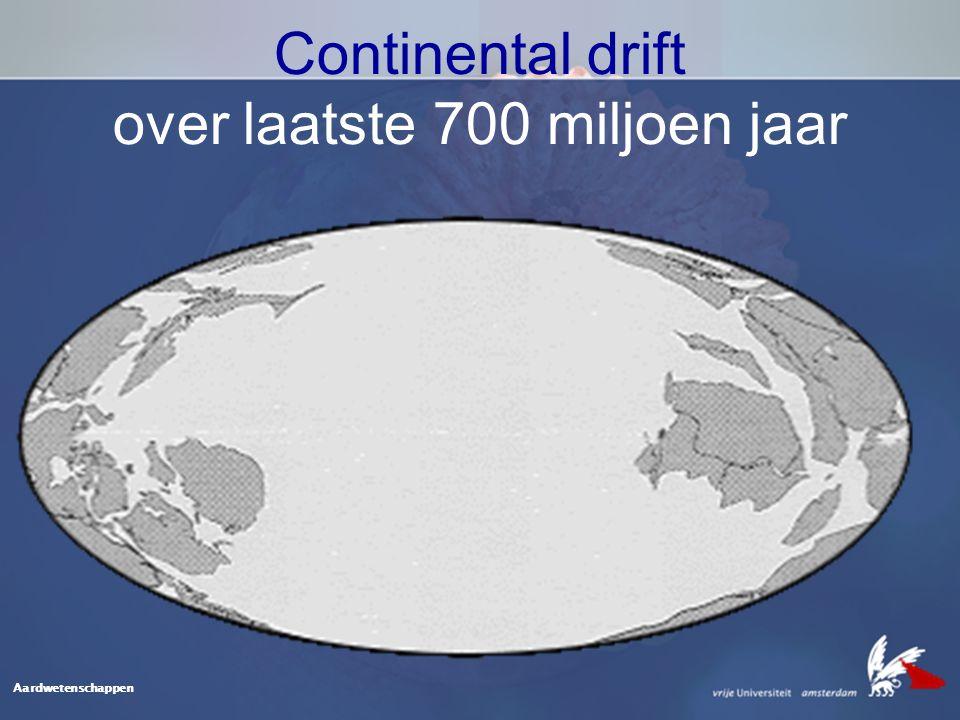 Continental drift over laatste 700 miljoen jaar