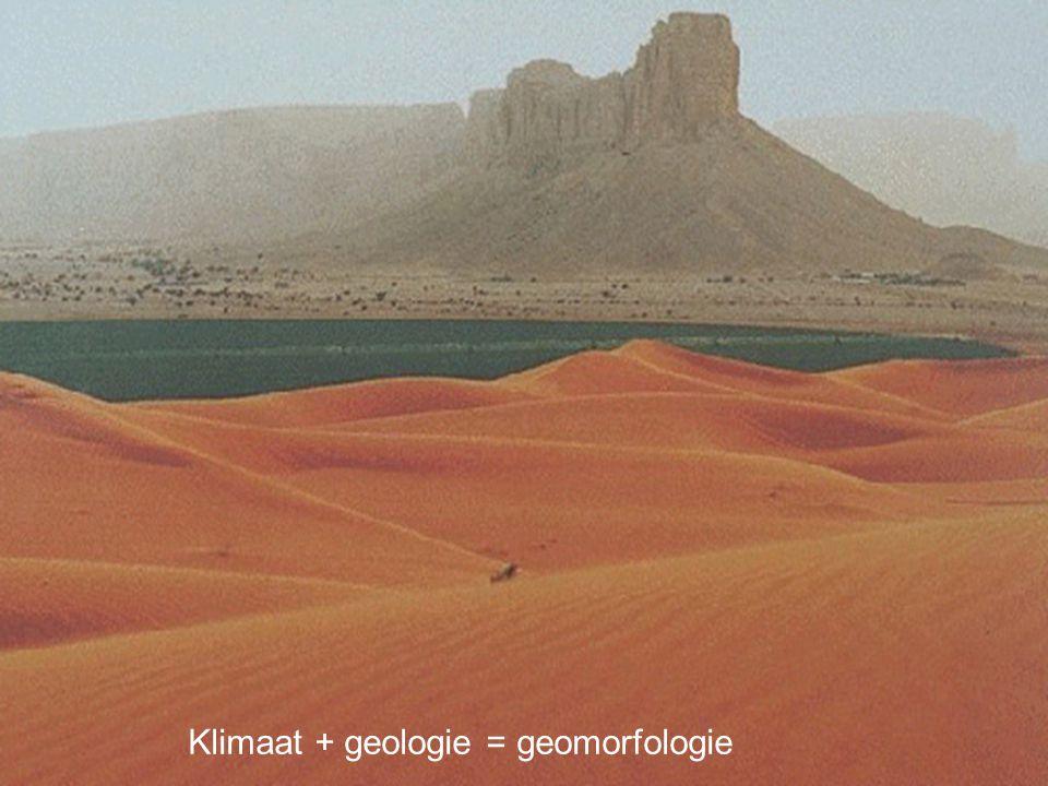 Klimaat + geologie = geomorfologie