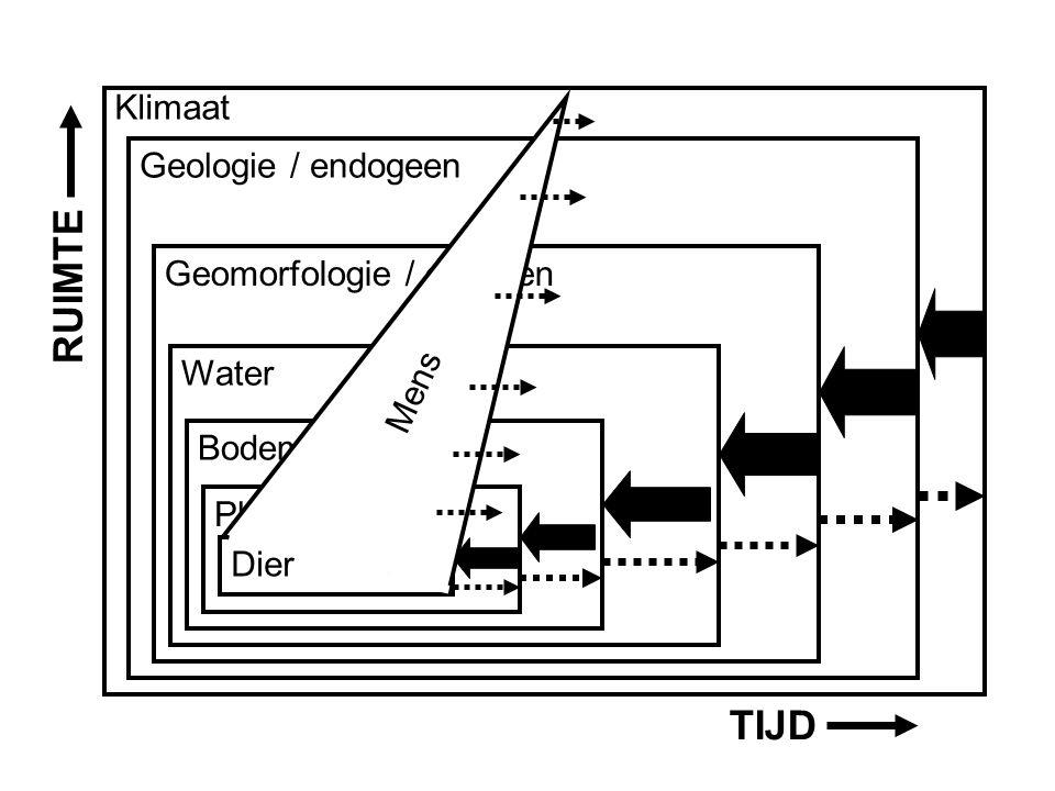 RUIMTE TIJD Klimaat Geologie / endogeen Geomorfologie / exogeen Water