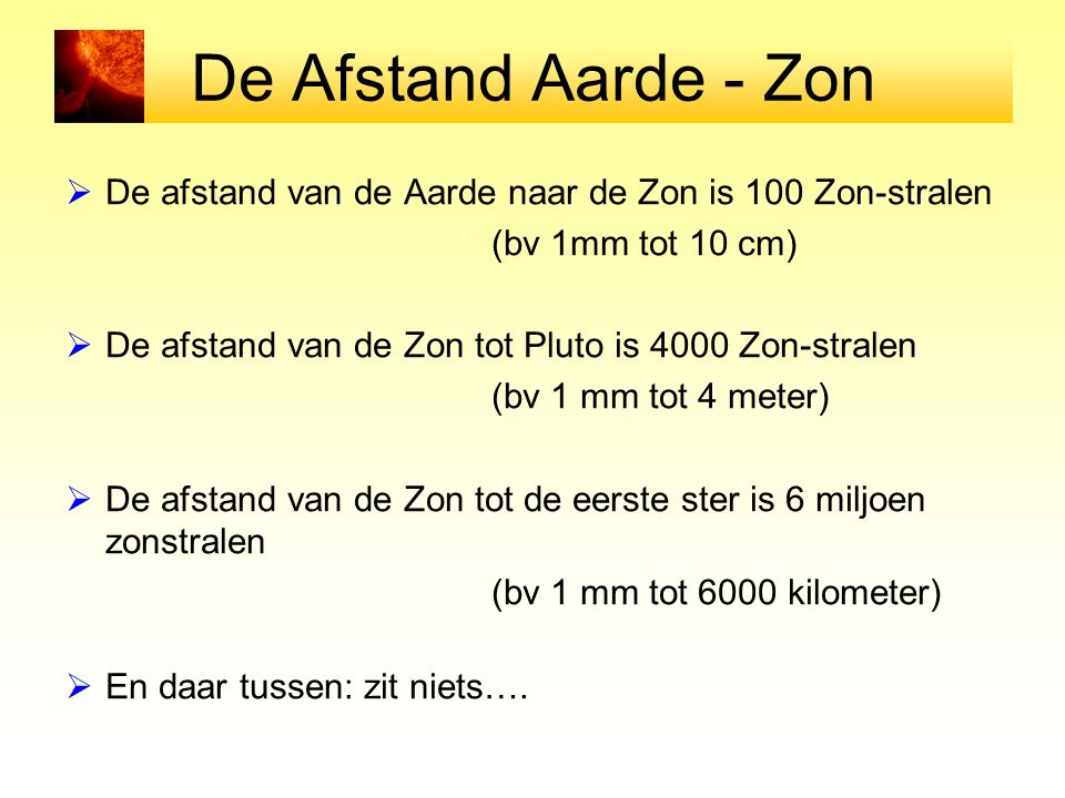 De Afstand Aarde - Zon De afstand van de Aarde naar de Zon is 100 Zon-stralen. (bv 1mm tot 10 cm)